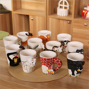 Wholesale Fashion D Animal Coffee Mugs Hand Painted Cartoon Shape Cup Lovely Lifelike Ceramics Tumbler For Office Workers And Students tt BZ