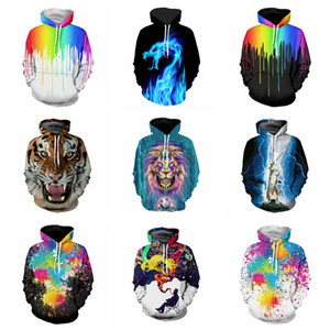 Wholesale 2017 New Arrival D Digital Funny Print Mens Hoodie With Caps Autumn Spring Lion Tiger Novelty Fashion Lovers Dragon Oil Paint Man Coat
