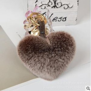 2017 New real beaver rabbit hair peach heart-shaped fashion fur ball bag keychain mobile phone accessories hang decoration