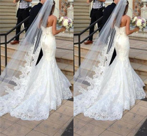 Princess Wedding Veils Cheap Long Lace Bridal Veils One Layer Custom Made Lace Applique Edge Bride Veil Free Shipping