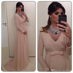 Pregnant Evening Dresses 2016 Free Shipping Simple V-Neck Elegant Long Chiffon Maternity Prom Dresses with Long Sleeves- on Sale