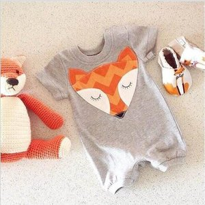 Wholesale 15 off new fashion M Baby Rompers Clothes Cute Fox Print Short Sleeve Newborn Baby Girls Boys Summer Playsuit jumpsuit llot