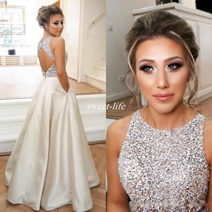 2019 Sexy Open Back Prom Dress Crystals Beaded Illusion Sleeveless Satin A-Line Evening Wear Party Gowns Long Formal Dresses with Pocket on Sale