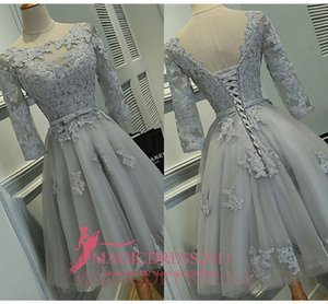 Wholesale Real Photos Grey Lace Party Homecoming Bridesmaid Dresses A-Line Jewel Illusion 3 4Long Sleeve Short Mini Cocktail Prom Gowns Cheap