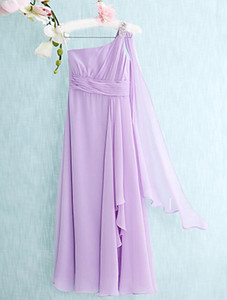 Latest Floor-length Chiffon A-line Column One Shoulder Junior Bridesmaid Dresses Cheap Shoulder Beaded Floor Length Sleeveless Dresses