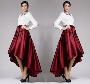 Wholesale Burgundy Taffeta High Low Skirts New Fashion Lady Skirt Dark Red Autumn Winter Women Skirts Cheap Formal Party Gowns