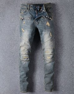 Wholesale Famous Brand Designer Men Jeans Ripped Jeans Blue Rock Star Mens Jumpsuit Designer Denim Male Pants