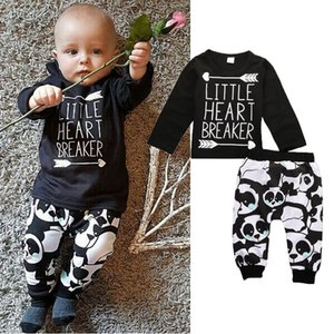 hot sale boys sets 2pcs Newborn Infant kids baby Boy Girl black T-shirt+Pant LITTLE HEART BREAKER funny words printed tshirt Autumn suits