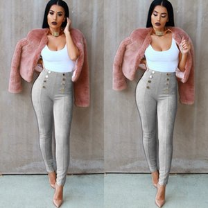 Wholesale Women s Pants Multi color Buttoned Deerskin Pants Legs Casual Hot Sales Fashion Girls Trousers Large Size
