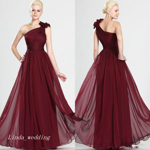 Burgundy Wine Red Evening Dress One Shoulder Long Bridesmaid Dress Maid Of Honor Dress Prom Party Gown