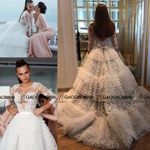 Wholesale 2019 Luxury Lace Tulle Ball Gown Beach Church Long Sleeve Wedding Dresses Arabic Dubai Tiered Cake Cathedral Train Plus Size Wedding Dress
