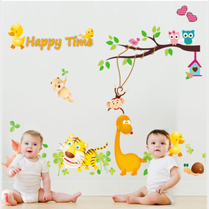 Wholesale Lovely Kids Bedroom Wall Stickers Cartoon Pig Tiger Owl Animals With Tree Monkey Lovely Kindergarten Wall Stickers Nursery School Sticker