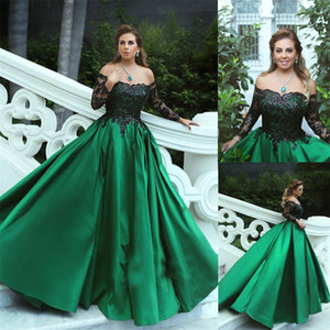 Black-Appliques Sleeves Long Off-the-Shoulder A-Line Elegant Prom Dress Black and Green Long Sleeves Evening Gowns vestido longo festa on Sale