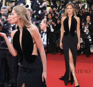 Wholesale Met Gala 2019 Doutzen Kroes Celebrity Evening Dresses Black Velvet Ruffled Full Length Sheath Deep V-Neck Split Occasion Dress Prom Gowns