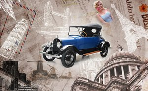 Wholesale 3d cars wallpaper for room for sale - Group buy Nostalgic retro Wall papers Home Decor classic cars Photo Wall Mural Wallpapers For Living Room European d Background