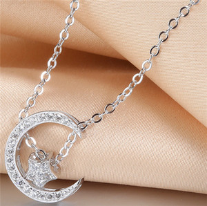 Wholesale star gold 925 for sale - Group buy 925 silver necklaces woman jewelry pendants moon star diy cross chains white gold rose gold chokers diamante fashion wholesales new pc