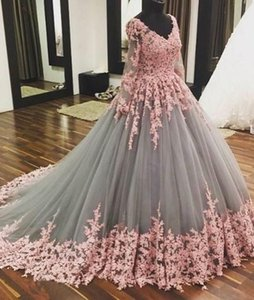 V-neck Long Sleeves Pink Lace Applique Grey Tulle Two Stones Ball Gowns Prom Gowns Long Sleeves Evening Dresses