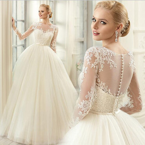 Wholesale Modest New Lace Appliques Wedding Dresses long sleeve beautiful Neckline See Through Button Back Bridal Gown lace sleeve BD020
