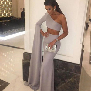 Wholesale New Arrival Grey One Sleeve Two Piece Evening Dresses Prom Gown Mermaid Long Sexy Dress Party Gown