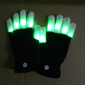 Wholesale Rave Gloves Mitts Flashing Finger Lighting Glove LED Colorful Colors Light Show Black and White DHL OTH661
