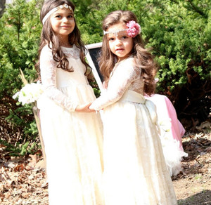 Wholesale Girls full Long Dress With Sweet Flower For Age Baby Kids Princess Wedding Prom Party White Cream Big Bow Long Sleeved Dress