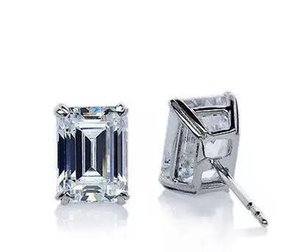 2.01ct VVS1-G Emerald Cut Solitaire Stud Earring 14k White Gold Moissanite Studs