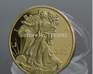 American Eagle Gold Clad souvenir Coin Free Shipping wholesale 5 Pcs Lot 100 MILLS.999 Gold-Plated Year 2000 Liberty Coin