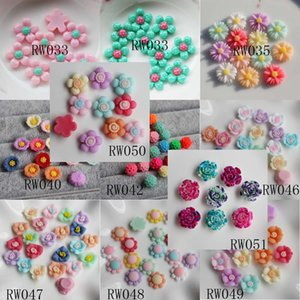 100pcs 12-15MM Resin Flower Cabochons Acrylic Lucite Resin Flat Back Cabochon Flower Beads For Jewelry Making