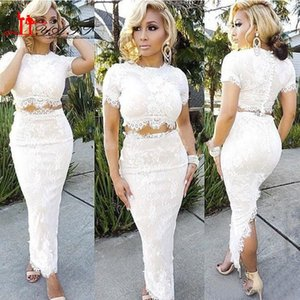 Wholesale New Fashion Ivory Full Lace Two Pieces Prom Dresses Cheap Sexy Short Sleeve Ankle Length Formal Party Gowns Custom Made China EN9229