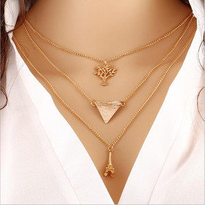 Wholesale Metal Necklaces Eiffel Tower necklace Collarbone chain fashion accessories The tree of life pendant necklace Multi layer chain necklace