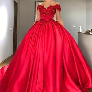 Wholesale Modest Off Shoulder Red Ball Gown Quinceanera Dresses Appliques Beaded Quinceanera Dress Sweep Train Long Pageant Gowns