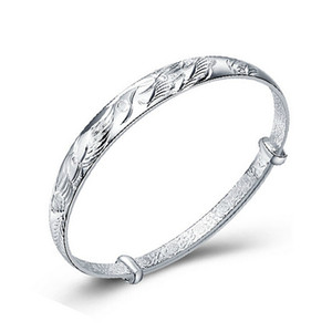 Wholesale 925 Silver Bangle Dragon And Phoenix Play Bracelets Opening Fashion Women Fine Jewelry Silver Bangles