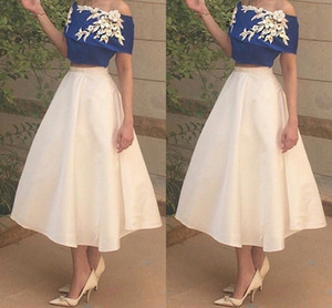 2017 Fashion Two Piece Short Prom Dresses Off Shoulder Elastic Satin Royal Blue White Ankle Length Party Dresses Cheap Arabic Evening Gowns on Sale