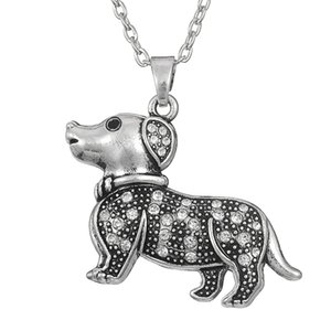 Wholesale Antique Silver Plated Animal Dog Pet Crystal Rhinestone Paved Pendant Girls Jewelry Pendant