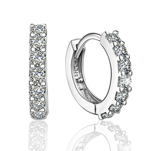 Wholesale silver earring hoops for sale - Group buy 925 sterling silver small hoop earrings with zircon fashion jewelry engagement gift for women good quality