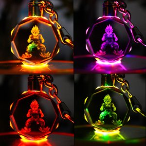 Wholesale Dragon Ball Keychain Sun Wukong Son Gohan Anime Crystal Action Figure Toys LED KeyChains Key Ring Fashion Jewelry Bag Hangs Drop Shippping