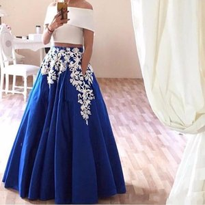 2017 Lace Appliques Two Piece Prom Dresses Boat Neck Satin Arabic Evening Dresses Elegant Royal Blue Party Gown Robe De Soiree on Sale