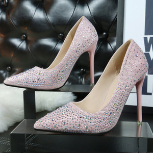 Wholesale 2016 Cheap Summer Women low cut Pumps Lady rhinestones Silver Black Pink Blue bottom High heel shoes for Female wedding bride dress v shoes