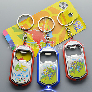 Brazil Rio 2016 Olympic Games Mascot Keychain Bottle Opener with LED Light Mascot Gifts Kitchen Bar Gadgets Home & Garden