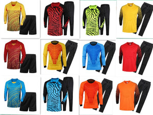 Free shipping!2019Adult Soccer Goalkeeper Jersey Kids Goal Keeper Uniforms Long Sleeve Suits Sponge Protector Suit Camisetas De Futbol Jer on Sale