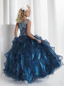 Wholesale 2016 Princess Spaghetti Straps Ball Gown Glitz Pageant Dresses crystal organza stack up ruffles dark navy pageant little Girl Dress