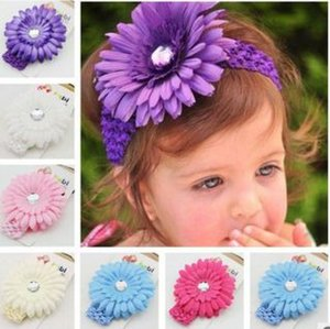 Wholesale Best Deal Crochet Headbands Gerbera Daisy Flowers Baby Hairbows Flowers Headbands Girls Baby Headdress Kids Headband