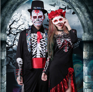 Wholesale Vampire Cosplay Costume Men Suits Sets Women Dresses Party Clothing Halloween Stage Wear
