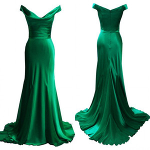 Wholesale Top Quality Emerald Green Evening Dresses Mermaid Off the Shoulder Draped Neckline Ruched Prom Party Gowns Formal Wear Sweep Train