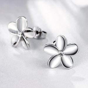 Wholesale Small flower Silver earrings with Box platinum with Czech drill fashion female models cute vintage jewelry ER