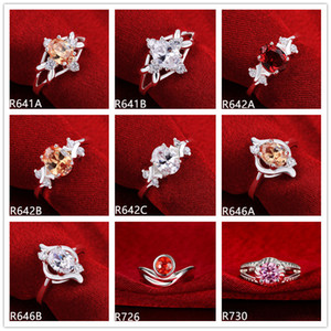 Brand new high grade women's gemstone sterling silver ring 10 pieces mixed style,wedding fashion 925 silver ring GTR23 factory direct sale