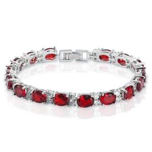 Wholesale Women s Oval Cut Ruby and Round White Cubic Zirconia CZ Tennis Bracelet K White Gold Plated Bangle Bracelet