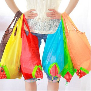 Wholesale Portable Cute Strawberry Bags Eco friendly Resuable Shopping Bags Tote Folding Foldable Bag Pouch Environmental Convenient Bag
