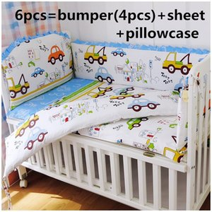 Promotion! 6PCS 100% Cotton Baby Bumper Crib Set ,Baby Kit Cot Bed,Crib Bedding Set (bumpers+sheet+pillow cover)