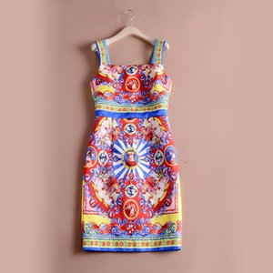 Wholesale red yellow print elegant Wide Straps bodycon high quality runway dress summer lady s sexy dresses